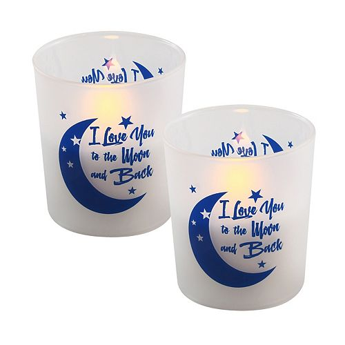"LumaBase ""I Love You to the Moon and Back"" Battery Operated LED Wax Candles in Glass Holders (Set of 2)"