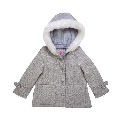 Baby Girl Carter's 12M-24M Grey Faux Wool Jacket