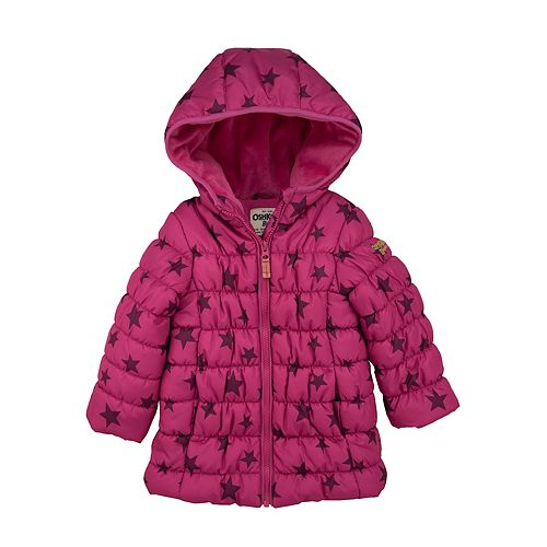 Toddler Girl OshKosh B'gosh® Magenta Star Long Length Coat