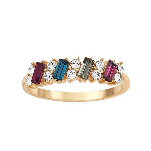 Brilliance Emerald Cut Multicolor Ring with Swarovski Crystals