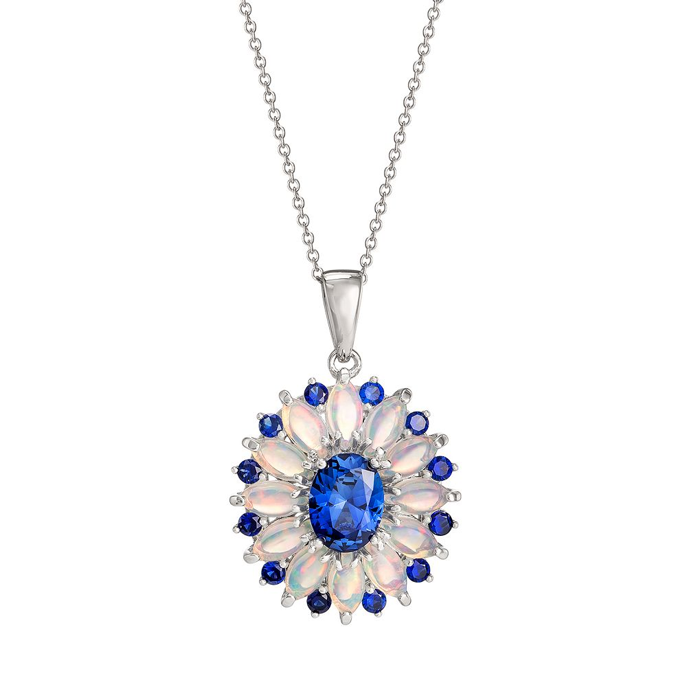 Sterling Silver Lab-Created Sapphire & Opal Flower Pendant Necklace