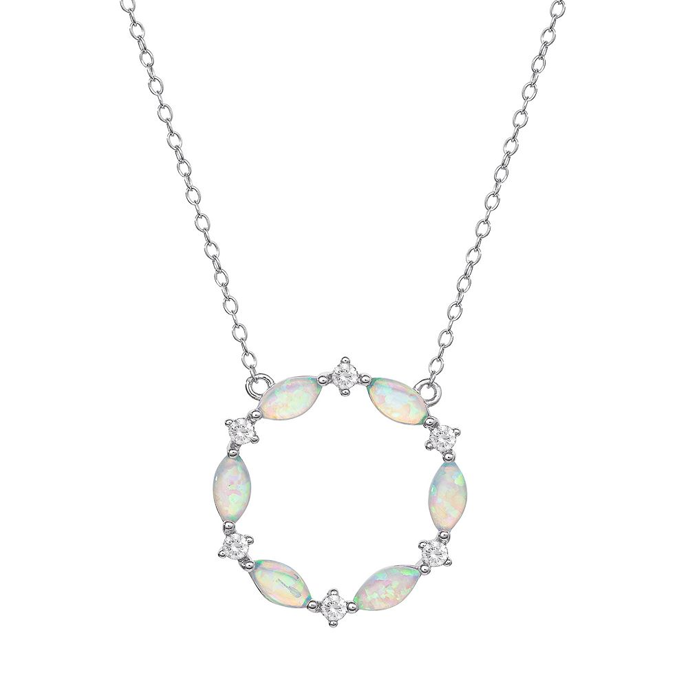Sterling Silver Lab-Created Opal & Cubic Zirconia Circle Necklace