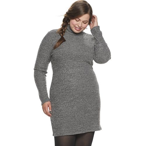 Juniors' Plus SIze SO® Long Sleeve Turtleneck Bodycon Dress