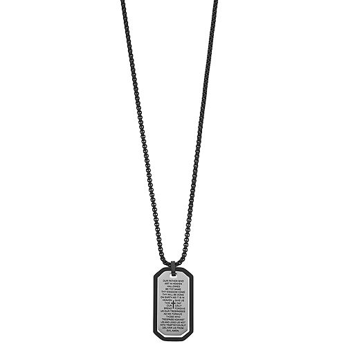 Men's Stainless Steel Lord's Prayer Dog Tag