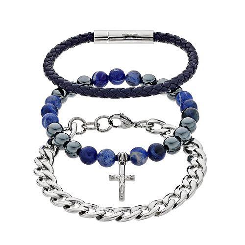 Men's Stainless Steel Anchor Bracelet Set