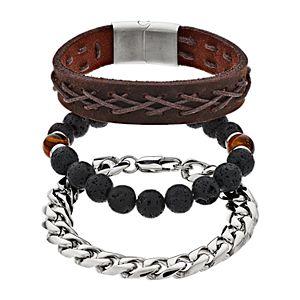 Men's Leather, Stainless Steel & Tiger Eye Bracelet Set