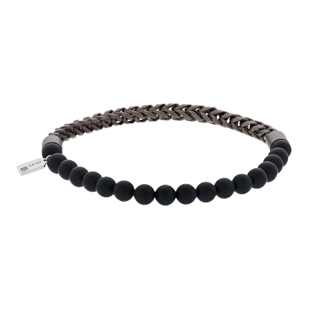 Stainless Steel Black Agate Beaded Chain Bracelet