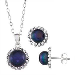 Sterling Silver Black Pearl Halo Earring & Pendant Necklace Set