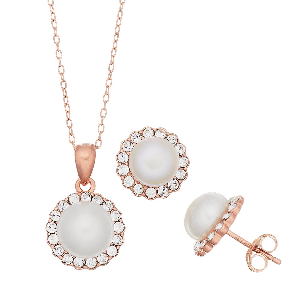 Gold Over Sterling Silver Pearl Halo Earring & Pendant Necklace Set