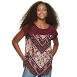 Juniors' Rewind Short Sleeve Printed Top
