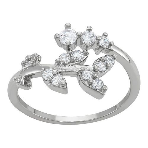 Silver Tone & Clear Crystal Leaves Ring