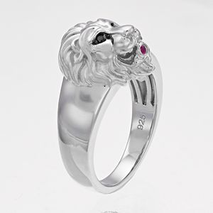 Sterling Silver Lab-Created Ruby & Black Diamond Accent Lion Ring