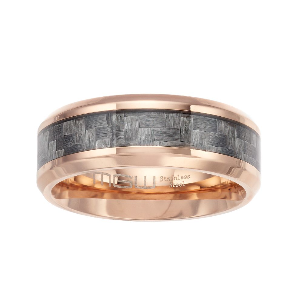 Men's Rose Gold Tone Stainless Steel Carbon Fiber Beveled Edge Ring