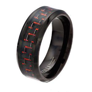 Men's Black Stainless Steel Black & Red Carbon Fiber Ring