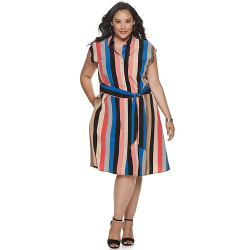 Plus Size Apt. 9® Button Front Shirtdress with Self Belt