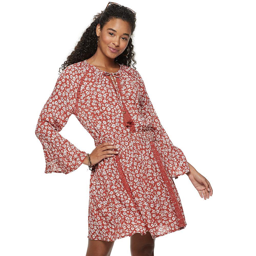 Juniors' American Rag Bell Sleeve Cheetah Print Peasant Dress