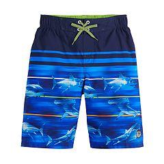 Big Fisch Boys Striped Swim ShortsOrange /& Navy