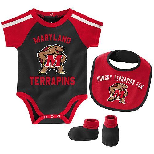 "Baby Boys Maryland Terrapins 3-Piece ""Tackle"" Bodysuit, Bib, & Booties Set"
