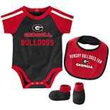 "Baby Boys Georgia Bulldogs 3-Piece ""Tackle"" Bodysuit, Bib, & Booties Set"
