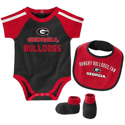 "Baby Boys Georgia Bulldogs 3-Piece ""Tackle"" Bodysuit, Bib, & Booties Set"
