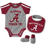 "Baby Boys Alabama Crimson Tide 3-Piece ""Tackle"" Bodysuit, Bib, & Booties Set"