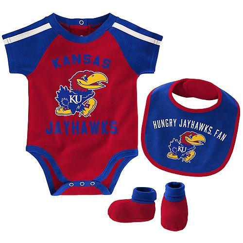Baby Boy Kansas Jayhawks Tackle 3-Piece Bodysuit Set