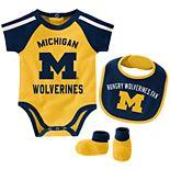 Baby Boy Michigan Wolverines Tackle 3-Piece Bodysuit Set