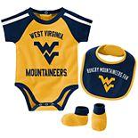Baby Boy West Virginia Mountaineers Tackle 3-Piece Bodysuit Set