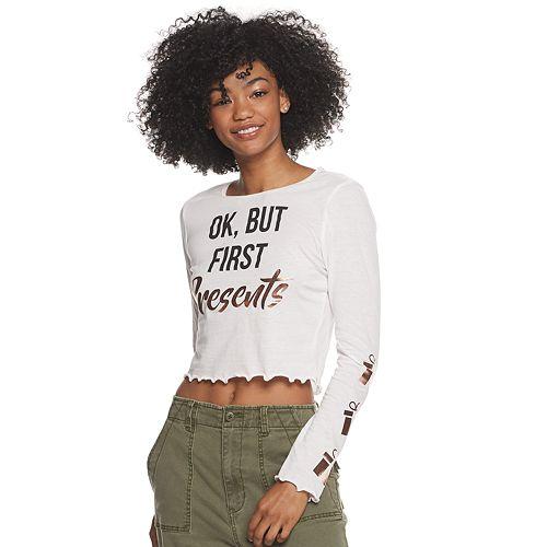 Juniors' OK But First Presents Graphic Tee