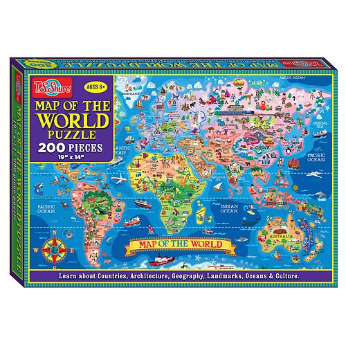 T.S. Shure - Map of the World Jigsaw Puzzle, 200-Piece