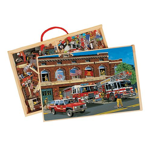 T.S. Shure - Back in Time American Fire Trucks Jumbo Wooden Puzzles in a Wooden Box, 2 Puzzles