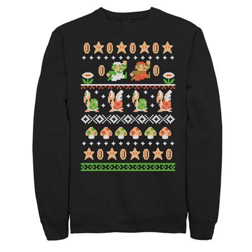 Men's Nintendo Super Mario Ugly Christmas Sweater Mashup Sweatshirt