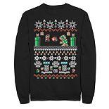 Men's Nintendo Super Mario 8-Bit Christmas Stack Fleece