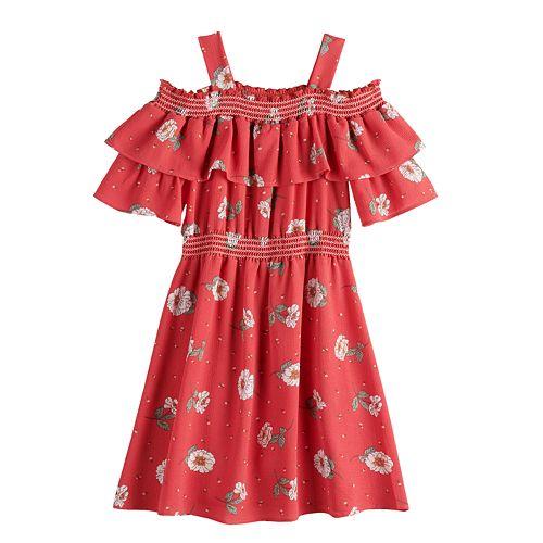 Girls 7-16 Knitworks Smocked Cold-Shoulder Dress