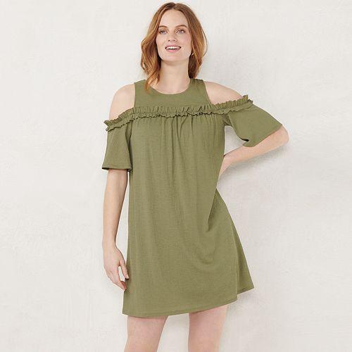 Women's LC Lauren Conrad Ruffle Cold-Shoulder Dress