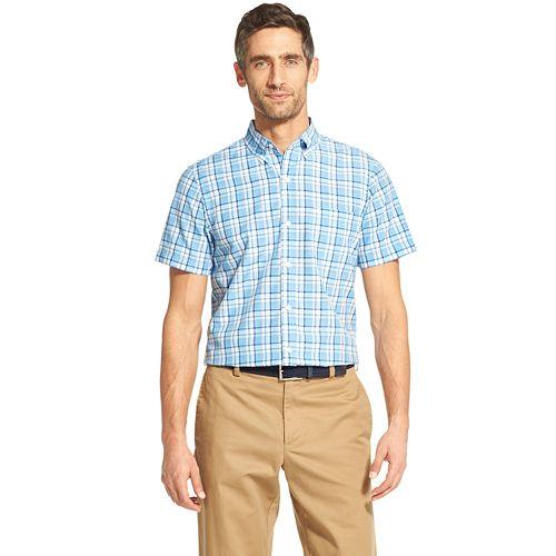 IZOD Mens Breeze Short Sleeve Button Down Plaid Shirt