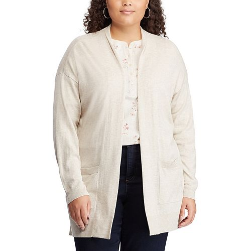 Plus Size Chaps Open Front Cardigan