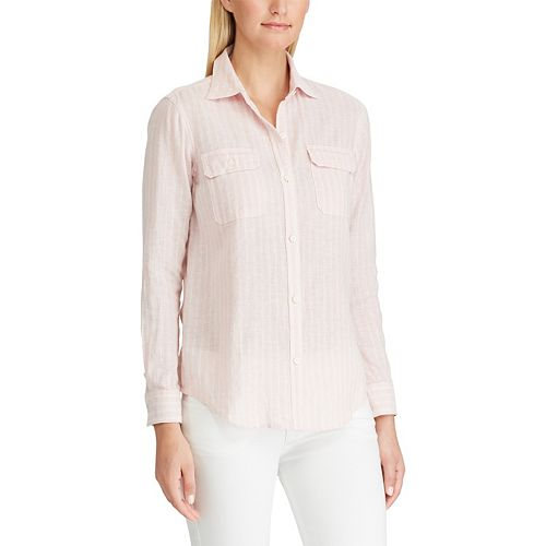 Women's Chaps Striped Linen-Blend Shirt