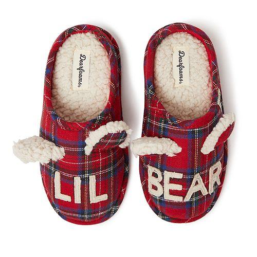 Unisex Kid's Dearfoams Lil Bear Plaid Clog Slippers