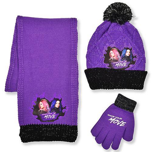 Girls Disney's Descendants Hat, Gloves, and Scarf Set