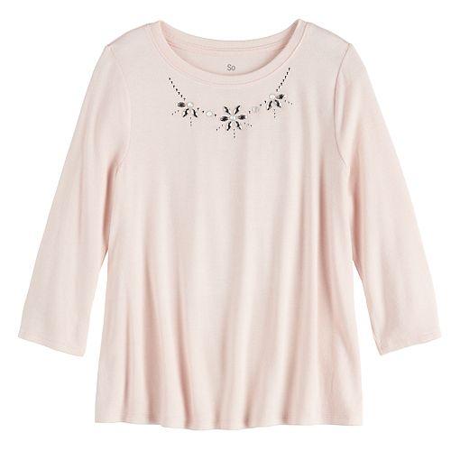Girls 7-16 SO® 3/4 Sleeve Cozy Jewel Neckline Top