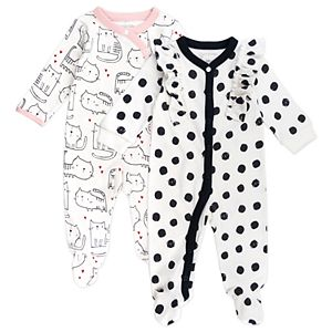Baby Girl Mac & Moon 2-Pack Cat Print Footed Sleep and Plays