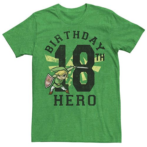 Men's Nintendo Legend Of Zelda Link Birthday 18 Hero Tee