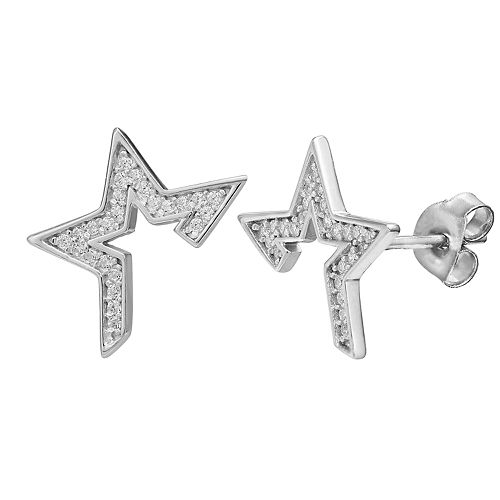 PRIMROSE Sterling Silver Cubic Zirconia Half Star Stud Earrings