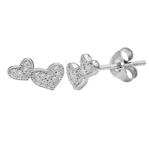 PRIMROSE Sterling Silver Cubic Zirconia Beaded Double Heart Stud Earrings
