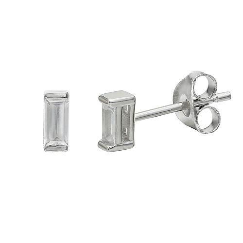 PRIMROSE Sterling Silver Cubic Zirconia Baguette Stud Earrings
