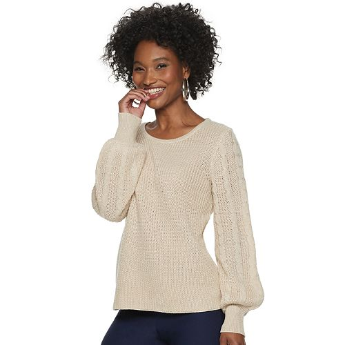 Women's ELLE™ Cable Sleeve Sweater