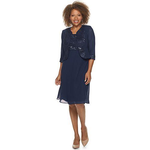 Petite Maya Brooke Sequin Trim Jacket & Dress Set