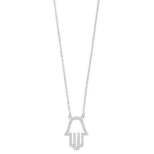 Sterling Silver CZ Hamsa Necklace