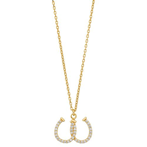 Sterling Silver Cubic Zirconia Double Horseshoe Pendant Necklace